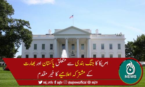 امریکا کا جنگ بندی پر پاکستان،بھارت کے مشترکہ اعلامیے کا خیرمقدم