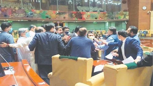 Brawl erupts in Sindh Assembly as PTI lawmakers scuffle with dissident party MPAs