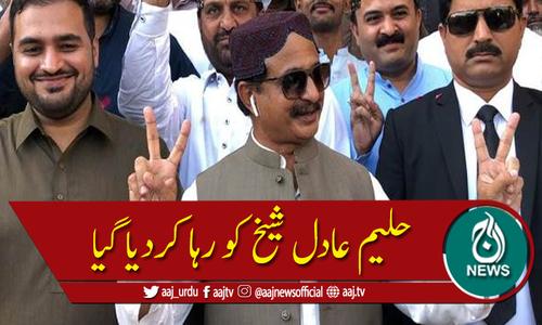 اپوزیشن لیڈر سندھ اسمبلی حلیم عادل شیخ ضمانت منظور ہونے پر رہا