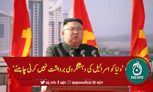 دنیا کو اسرائیل کی دہشتگردی برداشت نہیں کرنی چاہیئے: شمالی کوریا