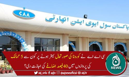 سی اے اے نے5ممالک کی پروازوں میں 40 فیصد اضافے کی اجازت دے دی