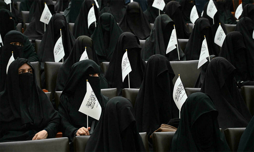 کابل: باحجاب خواتین کا طالبان کی سخت پالیسیوں سے یکجہتی کا اظہار