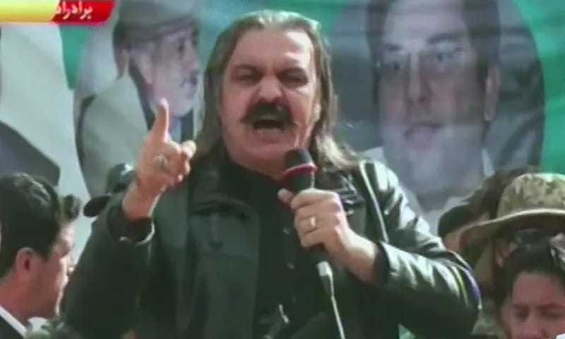 PTI minister Ali Amin Gandapur has been criticized for his use of foul language against opponents. Screen grab from TV