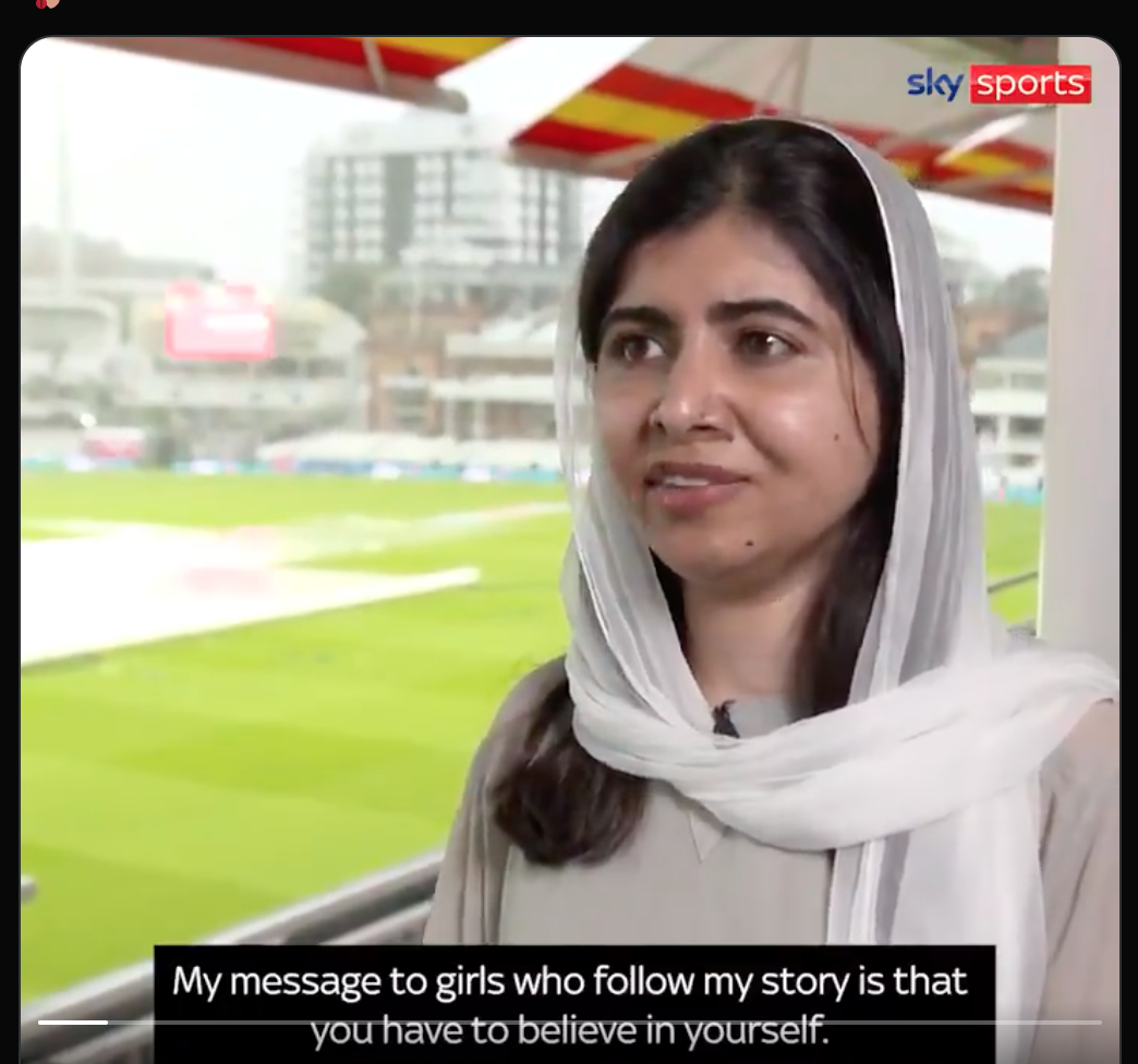 Malala Yousufzai says she wants to encourage young women to pick up a bat and ball. Screenshot from Sky News Twitter