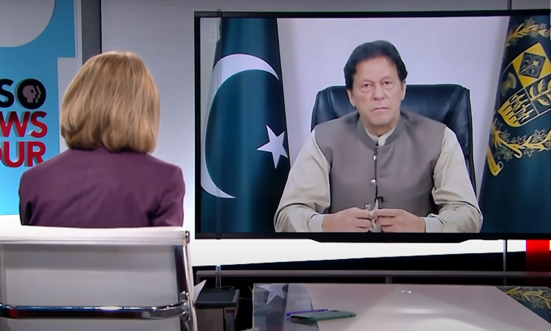 The Prime Minister, seen in this screen grab from YouTube, tells PBS that Pakistan cannot afford the fallout from a civil war in Afghanistan.