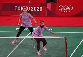 Egypt's women's badminton team compete at the Tokyo 2020 games. Reuters