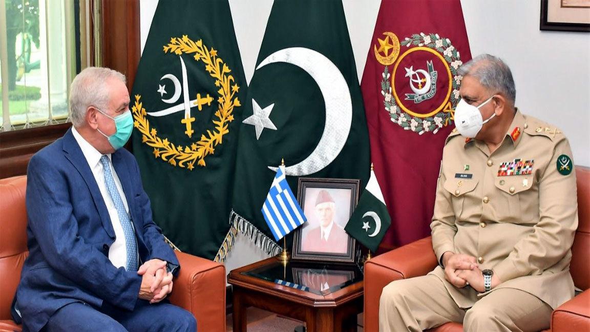 COAS Qamar Bajwa in meeting with Greek Ambassador to Pakistan Andreas Papastavrou in Rawalpindi. File Photo