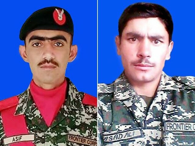 Two soldiers martyred as terrorists bid to cross Pak-Afghan border thwarted