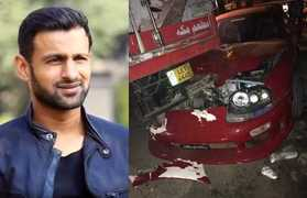 Shoaib Malik react after surviving an accident as his sports car crashed into truck
