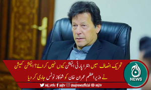 انٹرا پارٹی الیکشن نہ کرانے پر وزیراعظم عمران خان کو شوکاز نوٹس جاری