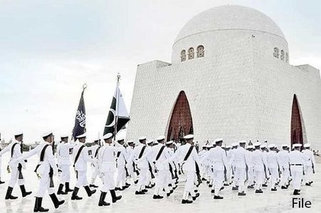 Change of guards ceremonies held at Quaid, Iqbal's mausoleums on Independence Day
