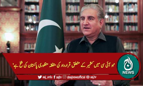 'او آئی سی میں کشمیر کے متعلق قرارداد کی متفقہ منظوری پاکستان کی فتح ہے'