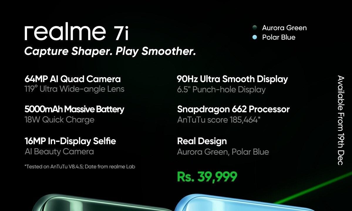 Realme seized massive success for realme 7i with 64MP Quad Camera and Snapdragon 662 processor