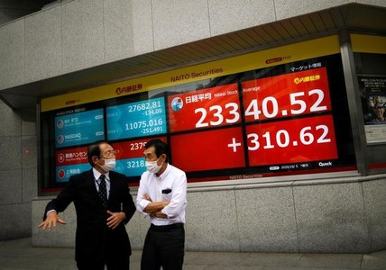 Asian shares defensive, dollar struggles near one-month lows
