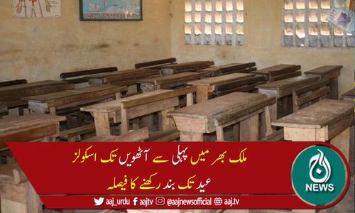حکومت کا پہلی سے آٹھویں تک اسکولز عید تک بند رکھنے کا فیصلہ