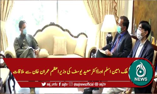 ملک امین اسلم اورڈاکٹر معید یوسف کی وزیراعظم عمران خان سے ملاقات