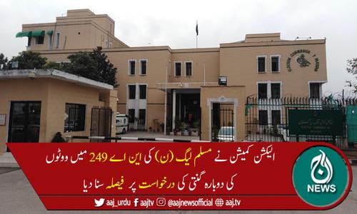 الیکشن کمیشن کا این اے 249 کراچی میں ووٹوں کی دوبارہ گنتی کا حکم