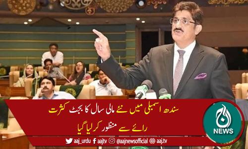 سندھ اسمبلی میں نئے مالی سال کا بجٹ کثرت رائے سے منظور