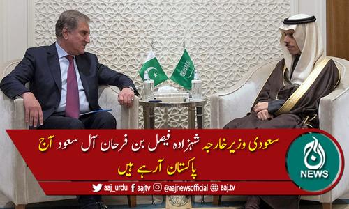 سعودی وزیرخارجہ شہزادہ فیصل بن فرحان آل سعود آج پاکستان آئیں گے