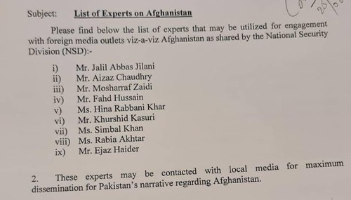 Is the list of Pakistan experts on Afghanistan by NSD real or a hoax?