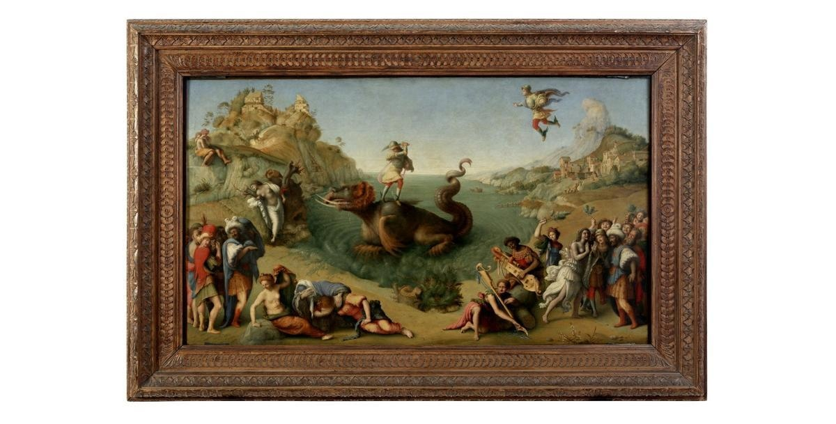 """The painting """"Perseus frees Andromeda"""" by Piero di Cosimo is seen at the Uffizi gallery."""