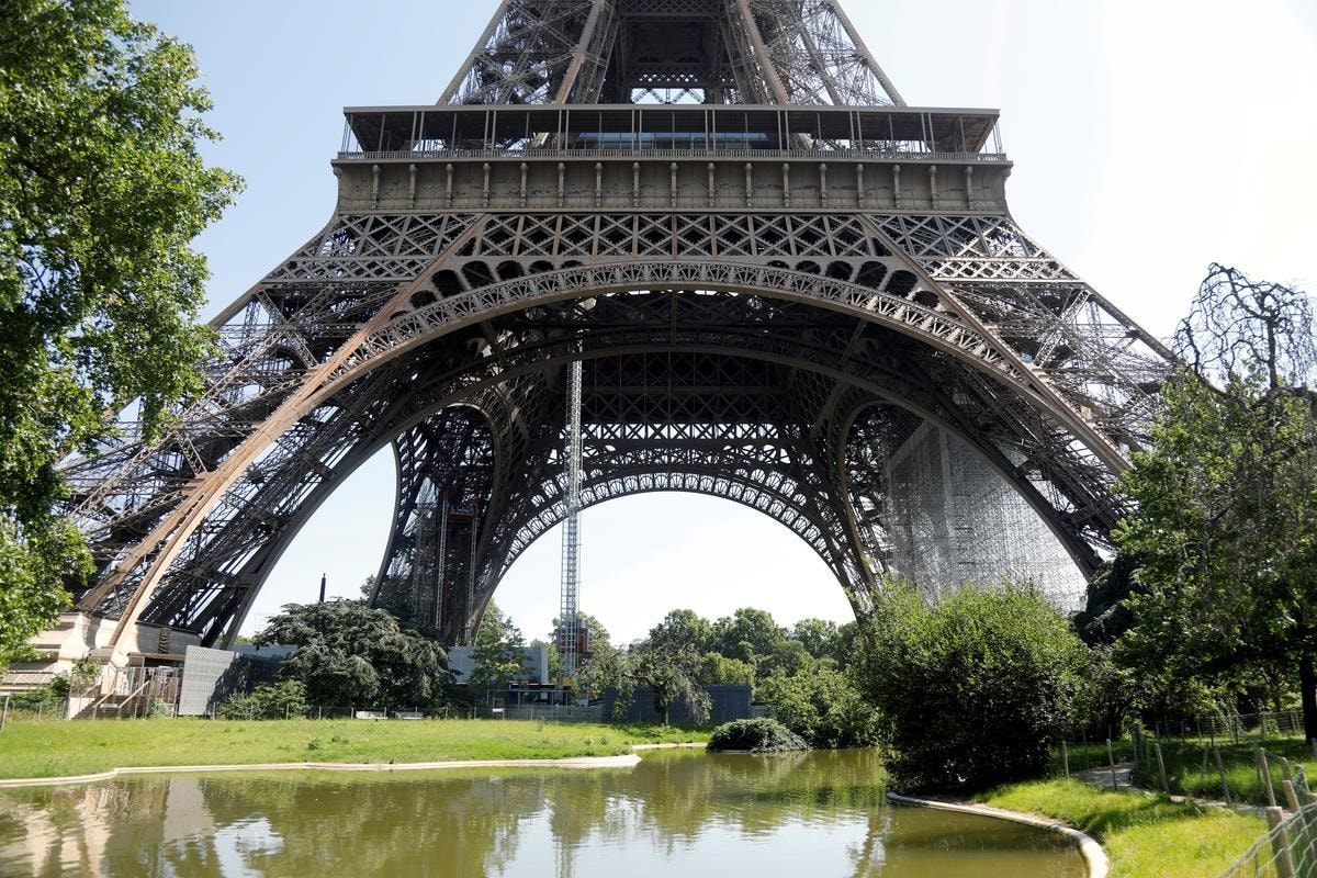 FILE PHOTO: A view shows the Eiffel Tower in Paris on its reopening day to the public following the coronavirus disease (COVID-19) outbreak in France, June 25, 2020. REUTERS