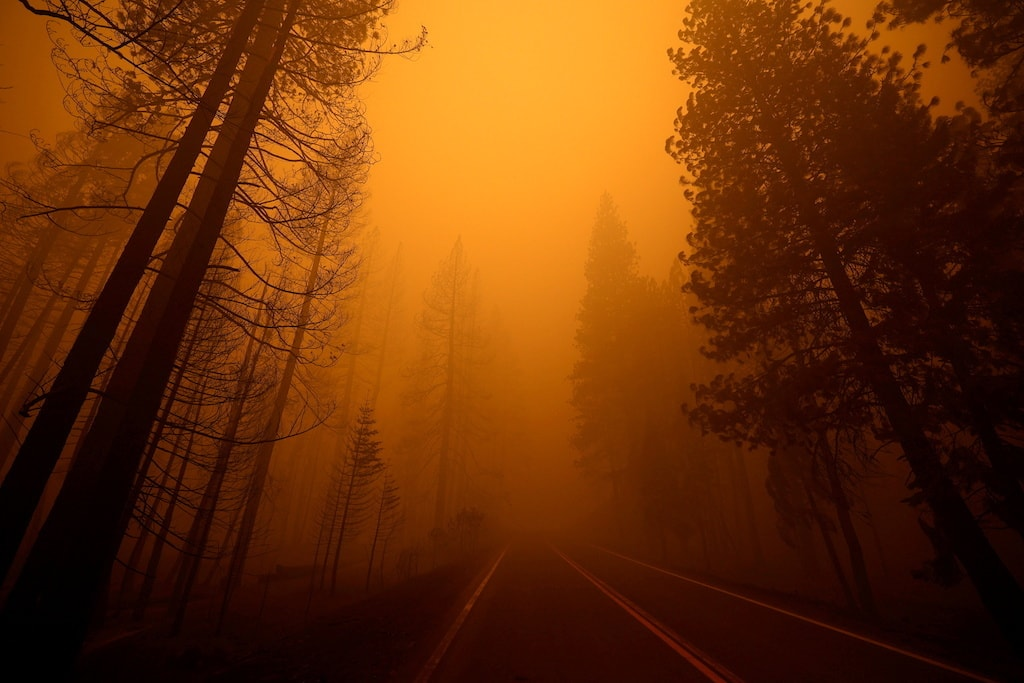 A wildfire in a neighboring town in California impacted Highway 89. Reuters