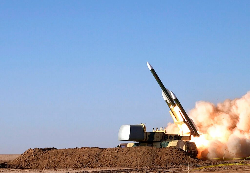 A missile being fired during a military drill at an undisclosed location in Iran. AP Photo