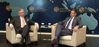 Finance Minister Shaukat Tarin spoke to Dr Peter Lavoy at the USIP. APP