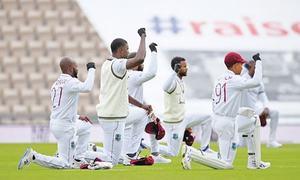 England, West Indies take a knee as rain clouds return of international cricket