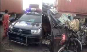 کراچی:گلشن معمار میں پولیس موبائل اور ڈمپر میں تصادم،2اہلکارزخمی