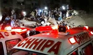 کراچی : لیاری جہان آباد، عمارت کی چھت گرگئی،2 جاں بحق