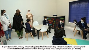 BEGUM SAMINA ALVI INAUGURATES PAFWA EDUCATIONAL SYSTEM (PES) PRIMARY SCHOOL AT PAF COMPLEX, ISLAMABAD