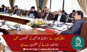 وفاقی کابینہ کی سرکاری ملازمین کی تنخواہوں میں10فیصد اضافے کی منظوری