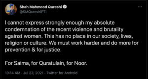 Twitter reacts to Qureshi's tweet condemning crimes against women